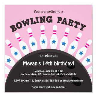 """Girls bowling party invite with pins, pink version 5.25"""" square invitation card"""