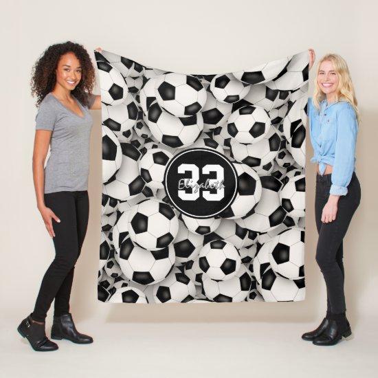 girls boys endless soccer balls pattern fleece blanket
