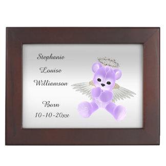 Girl's / Boy's Lilac Angel Teddy Bear Memory Box