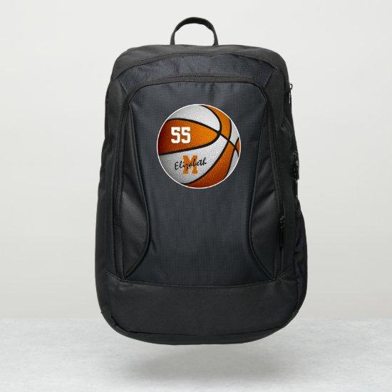 girls boys orange white personalized basketball port authority® backpack