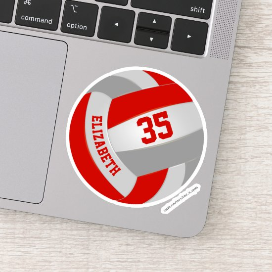 girls boys red gray team colors volleyball sticker