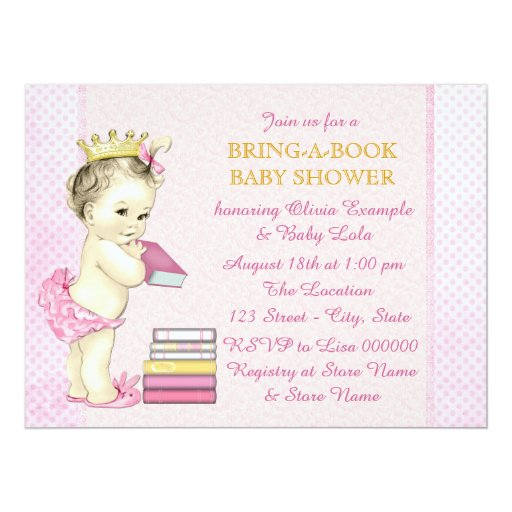 girls bring a book baby shower card zazzle