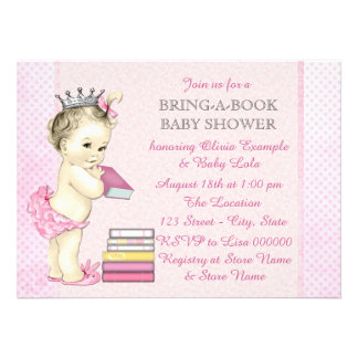 Girls Bring a Book Baby Shower Custom Invitations