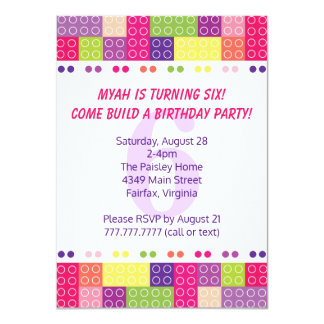 Girl's Building Blocks Birthday Invitations