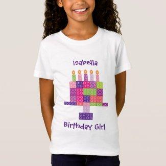 Girl's Building Bricks Blocks Birthday Cake T-Shirt