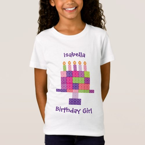 Girls Building Bricks Blocks Birthday Cake T_Shirt