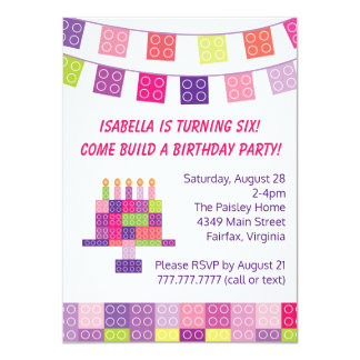 Girl's Building Bricks Blocks Birthday Party Card
