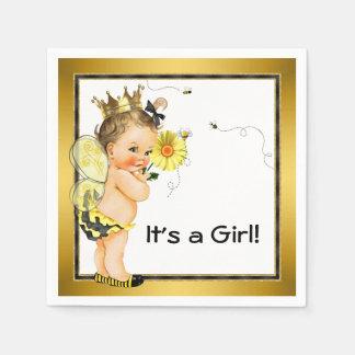 Girls Bumble Bee Baby Shower Napkin