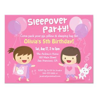 Girls Bunny Sleepover Slumber Birthday Party 4.25x5.5 Paper Invitation Card