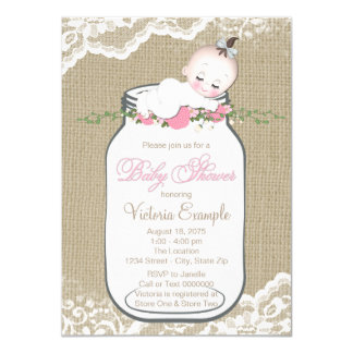 Girls Burlap Mason Jar Baby Shower Card