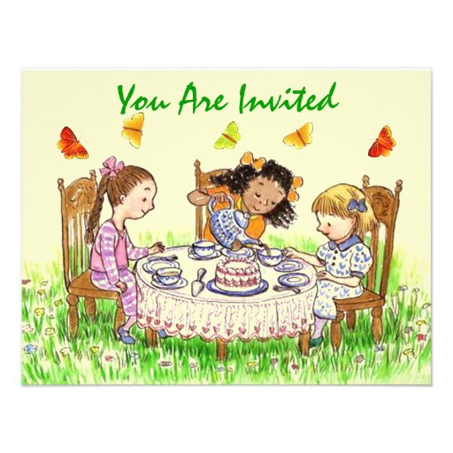 Girls & Butterflies Sweet Tea party Invitations