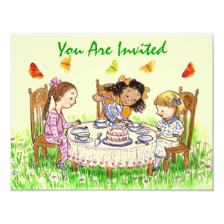 "Girls & Butterflies Sweet Tea party Invitations 4.25"" X 5.5"" Invitation Card"