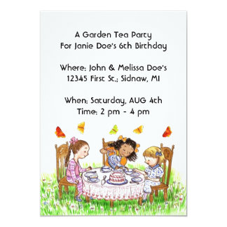 Girls & Butterflies Tea Party Garden Invitations