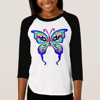 Girls Butterflyl 3/4 Sleeve Raglan T-Shirt