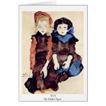 Girls By Schiele Egon Greeting Card