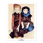 Girls By Schiele Egon Post Card
