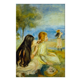 Girls by the Seaside by Pierre Renoir Posters