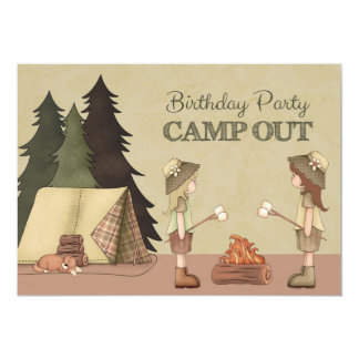 Girls Camp Out Birthday Party 5x7 Paper Invitation Card