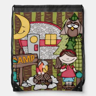Girl's Camping Adventure Drawstring Bag