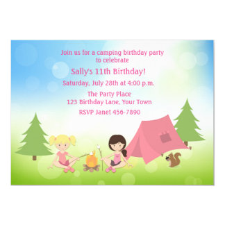 Girl's Camping Birthday Card