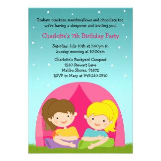 Girls Camping Birthday Party Invitation