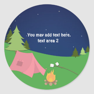 Girls Camping Glamping Birthday Party Favor Classic Round Sticker