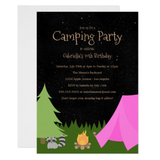 girls camping party birthday party invitation - Camping Party Invitations