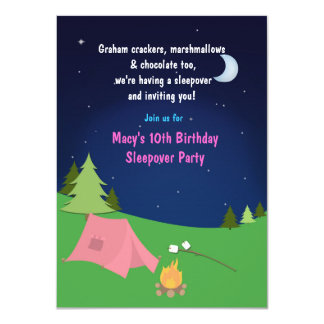 Girls Camping Sleepover Birthday Party Invitation