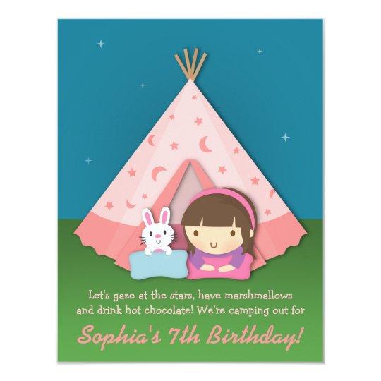Girls Camping Sleepover Birthday Party invitations Zazzlecom