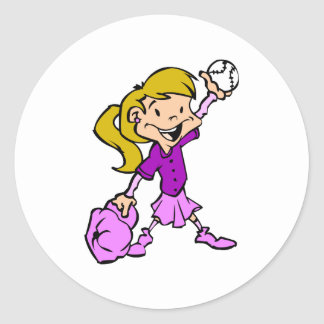 Girls can play baseball classic round sticker