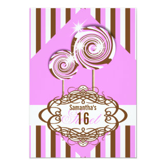 Girls candy birthday party invite