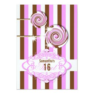 Girls candy birthday pink brown invitations