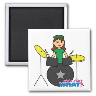 Girls Can't WHAT? ColorizeME Custom Design 2 Inch Square Magnet