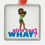 Girls Can't WHAT? ColorizeME Custom Design Square Metal Christmas Ornament