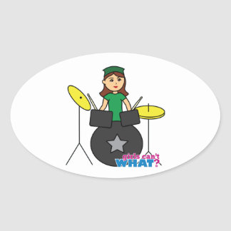 Girls Can't WHAT? ColorizeME Custom Design Oval Sticker