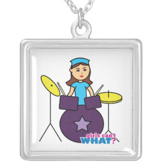 Girls Can't WHAT? ColorizeME Custom Design Square Pendant Necklace