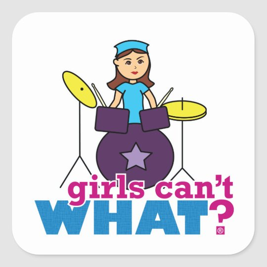 Girls Can't WHAT? ColorizeME Custom Design Square Sticker