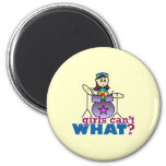 Girls Can't WHAT? Drummer Girl Logo 2 Inch Round Magnet