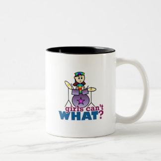 Girls Can't WHAT? Drummer Girl Logo Two-Tone Coffee Mug