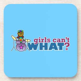 Girls Can't WHAT? Girl on Drums Beverage Coaster