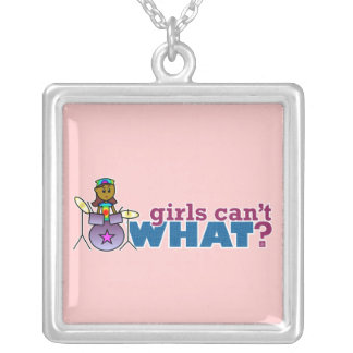 Girls Can't WHAT? Girl on Drums Silver Plated Necklace