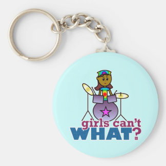 Girls Can't WHAT? Girl Playing Drums Key Chain