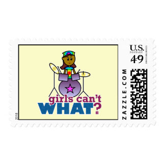 Girls Can't WHAT? Girl Playing Drums Postage Stamps