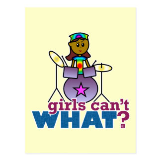 Girls Can't WHAT? Girl Playing Drums Postcard