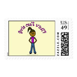 Girls Can't WHAT? Logo-Dark Girl Postage Stamp