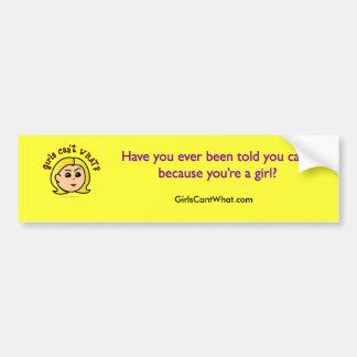 Girls Can't WHAT? Logo Head-Blonde Bumper Sticker