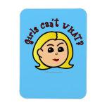 Girls Can't WHAT? Logo Head-Blonde Flexible Magnet
