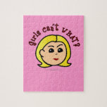 Girls Can't WHAT? Logo Head-Blonde Jigsaw Puzzle