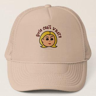 Girls Can't WHAT? Logo Head-Blonde Trucker Hat