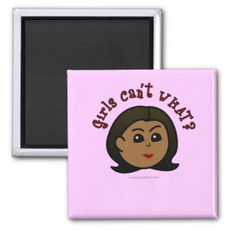 Girls Can't WHAT? Logo Head-Dark 2 Inch Square Magnet